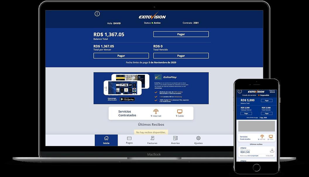 pwa-exito-vision-proyecto-web-devices-de-pagos-online-servicios-telefonicos-cable-tv-raylinaquino